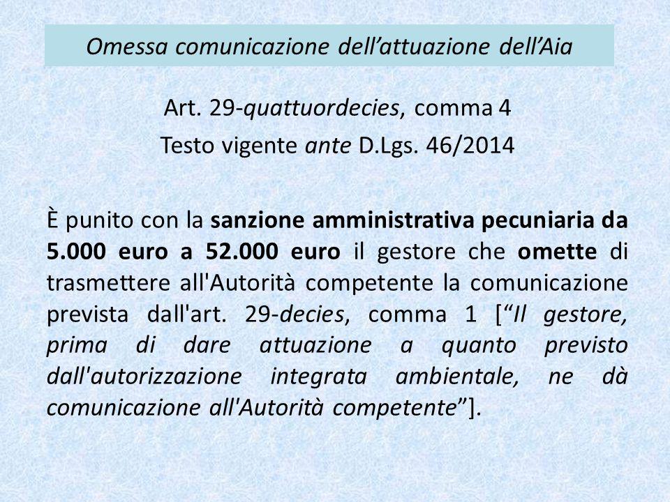Omessa comunicazione dell'attuazione dell'Aia Art. 29-quattuordecies, comma 4 Testo vigente ante D.Lgs. 46/2014 È punito con la sanzione amministrativ