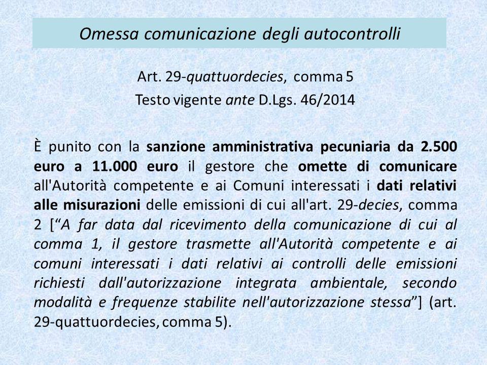 Omessa comunicazione degli autocontrolli Art. 29-quattuordecies, comma 5 Testo vigente ante D.Lgs. 46/2014 È punito con la sanzione amministrativa pec