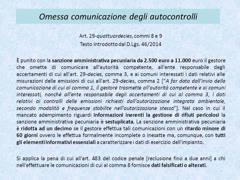 Omessa comunicazione degli autocontrolli Art. 29-quattuordecies, commi 8 e 9 Testo introdotto dal D.Lgs. 46/2014 È punito con la sanzione amministrati