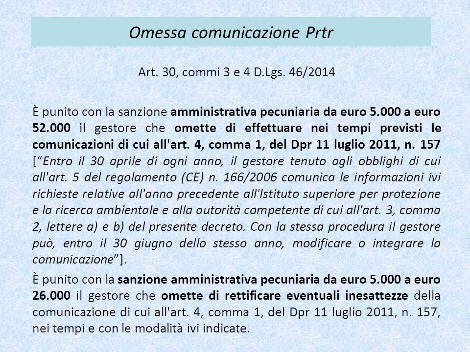 Omessa comunicazione Prtr Art. 30, commi 3 e 4 D.Lgs. 46/2014 È punito con la sanzione amministrativa pecuniaria da euro 5.000 a euro 52.000 il gestor