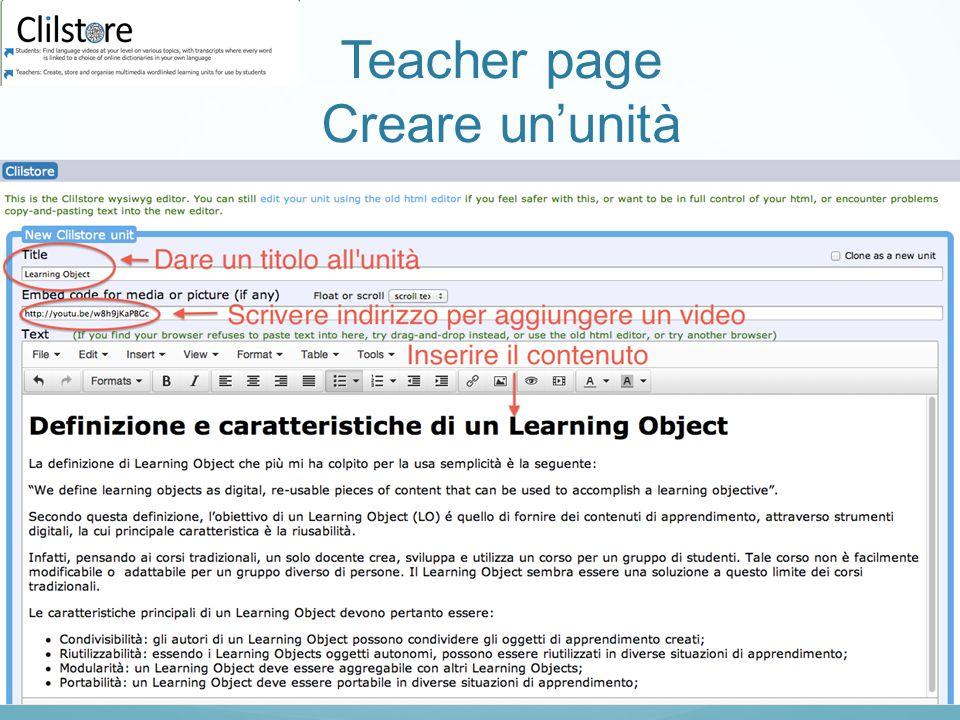 Teacher page Creare un'unità