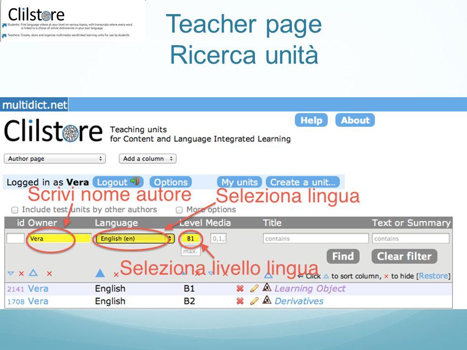 Teacher page Ricerca unità