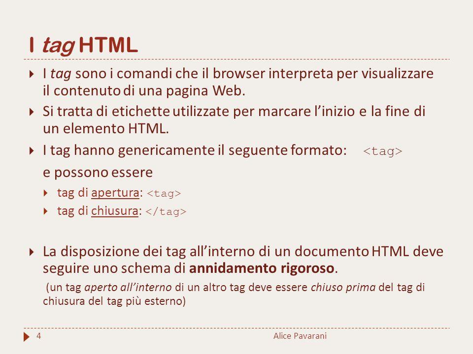 I tag HTML  I tag sono i comandi che il browser interpreta per visualizzare il contenuto di una pagina Web.  Si tratta di etichette utilizzate per m