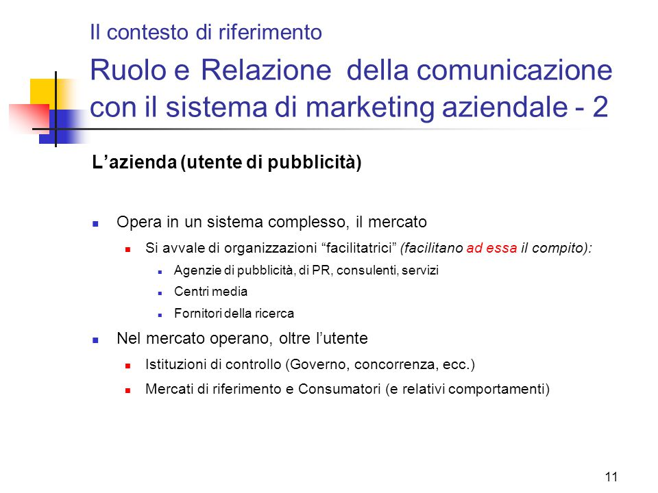 11 Il contesto di riferimento Ruolo e Relazione della comunicazione con il sistema di marketing aziendale - 2 L'azienda (utente di pubblicità) Opera i