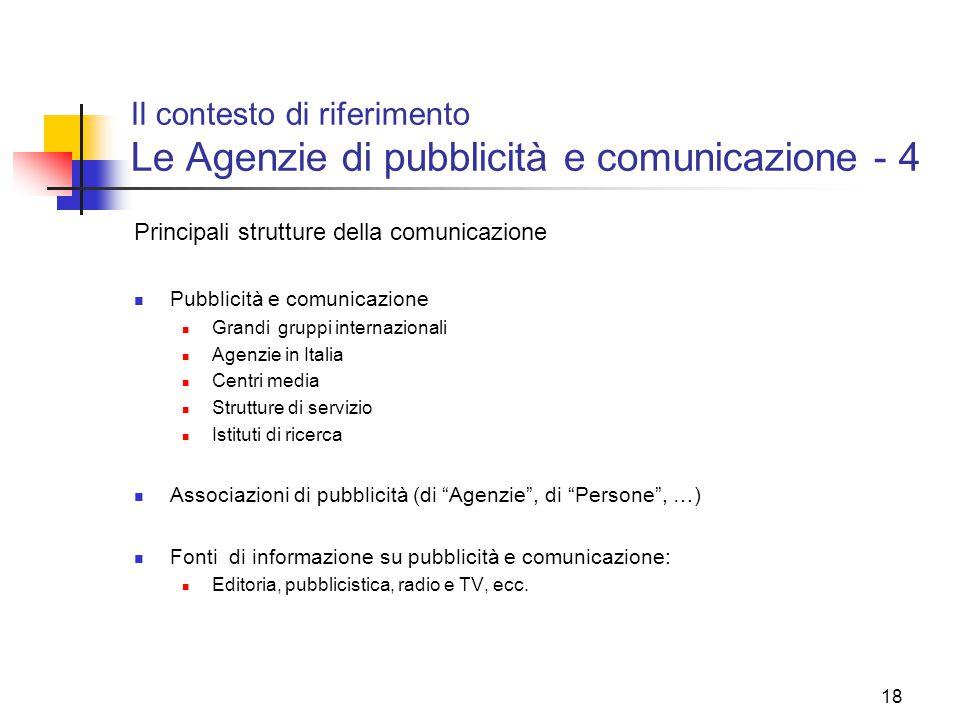 18 Il contesto di riferimento Le Agenzie di pubblicità e comunicazione - 4 Principali strutture della comunicazione Pubblicità e comunicazione Grandi