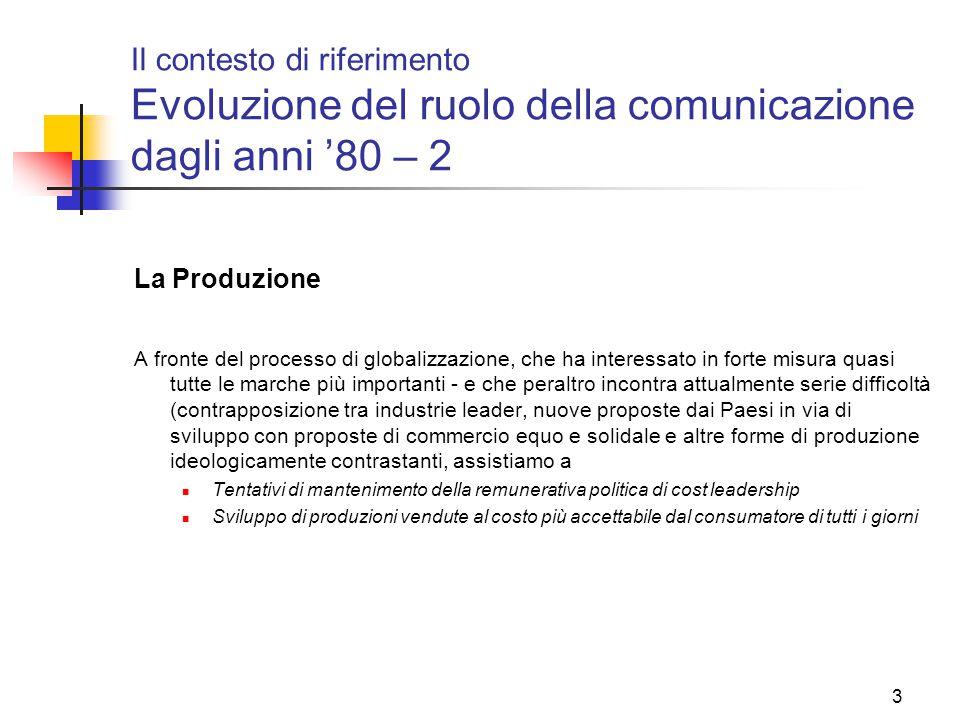 3 Il contesto di riferimento Evoluzione del ruolo della comunicazione dagli anni '80 – 2 La Produzione A fronte del processo di globalizzazione, che h