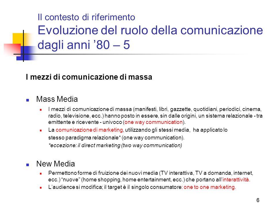 6 Il contesto di riferimento Evoluzione del ruolo della comunicazione dagli anni '80 – 5 I mezzi di comunicazione di massa Mass Media I mezzi di comun