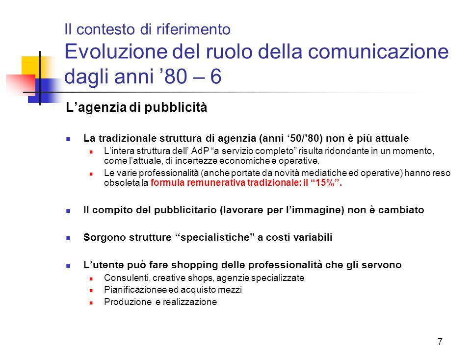 7 Il contesto di riferimento Evoluzione del ruolo della comunicazione dagli anni '80 – 6 L'agenzia di pubblicità La tradizionale struttura di agenzia