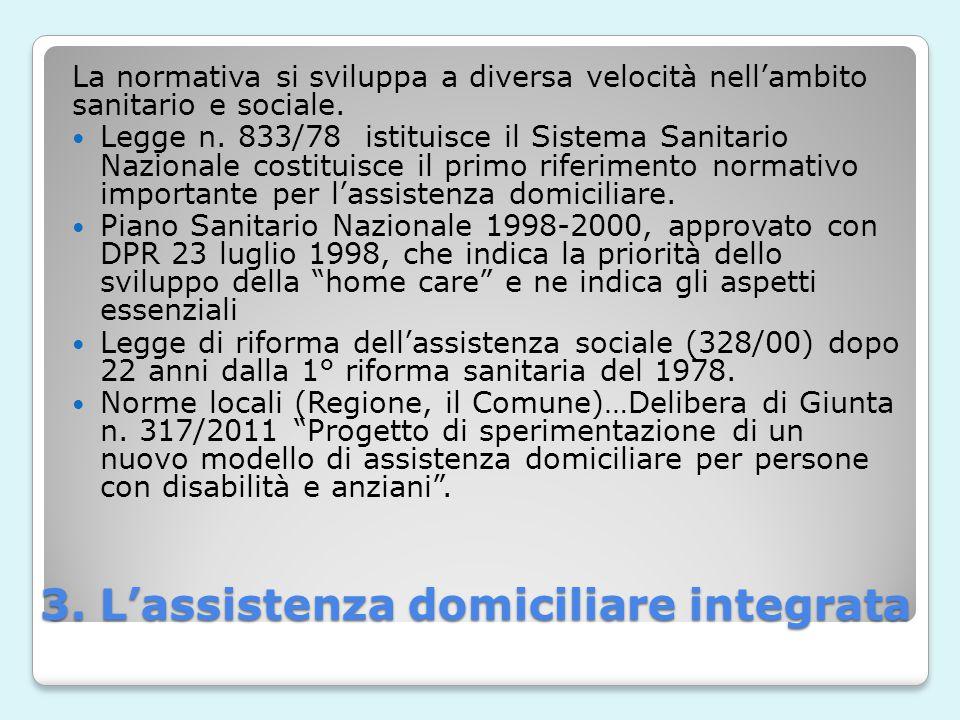 3. L'assistenza domiciliare integrata La normativa si sviluppa a diversa velocità nell'ambito sanitario e sociale. Legge n. 833/78 istituisce il Siste