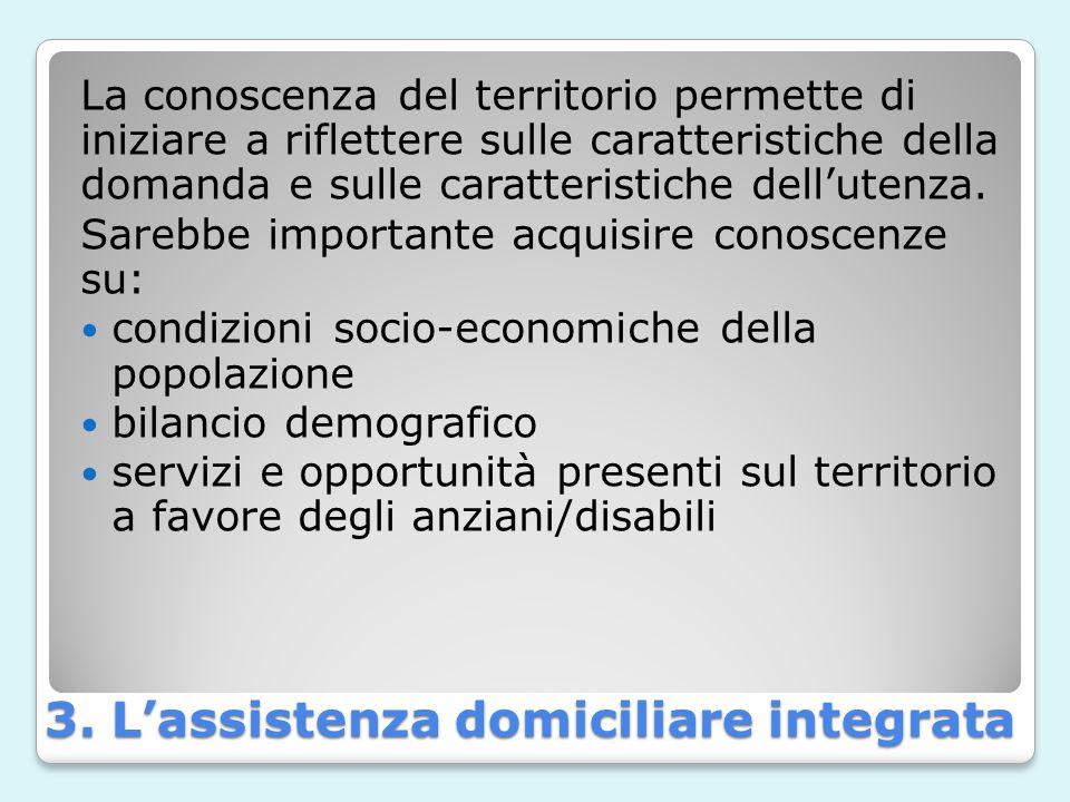 3. L'assistenza domiciliare integrata La conoscenza del territorio permette di iniziare a riflettere sulle caratteristiche della domanda e sulle carat