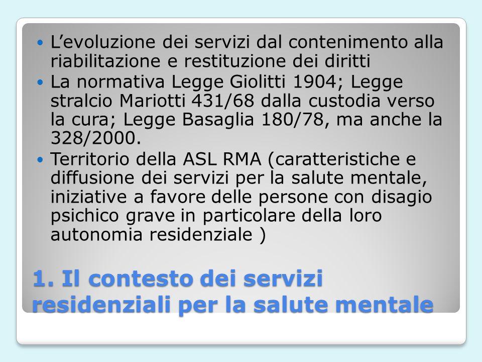 1. Il contesto dei servizi residenziali per la salute mentale L'evoluzione dei servizi dal contenimento alla riabilitazione e restituzione dei diritti
