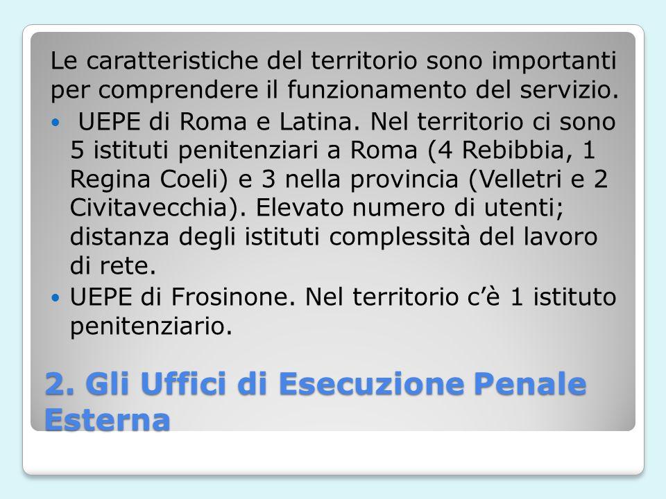 2. Gli Uffici di Esecuzione Penale Esterna Le caratteristiche del territorio sono importanti per comprendere il funzionamento del servizio. UEPE di Ro