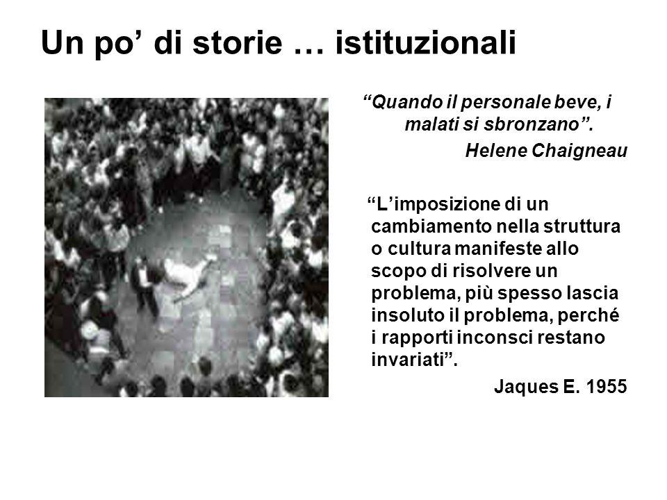 """Un po' di storie … istituzionali """"Quando il personale beve, i malati si sbronzano"""". Helene Chaigneau """"L'imposizione di un cambiamento nella struttura"""