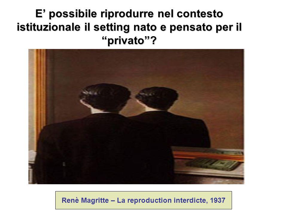"""E' possibile riprodurre nel contesto istituzionale il setting nato e pensato per il """"privato""""? Renè Magritte – La reproduction interdicte, 1937"""