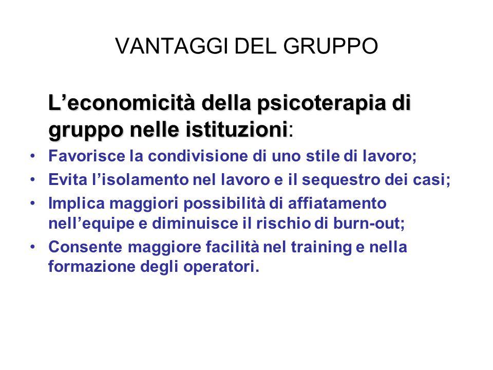 VANTAGGI DEL GRUPPO L'economicità della psicoterapia di gruppo nelle istituzioni L'economicità della psicoterapia di gruppo nelle istituzioni: Favoris