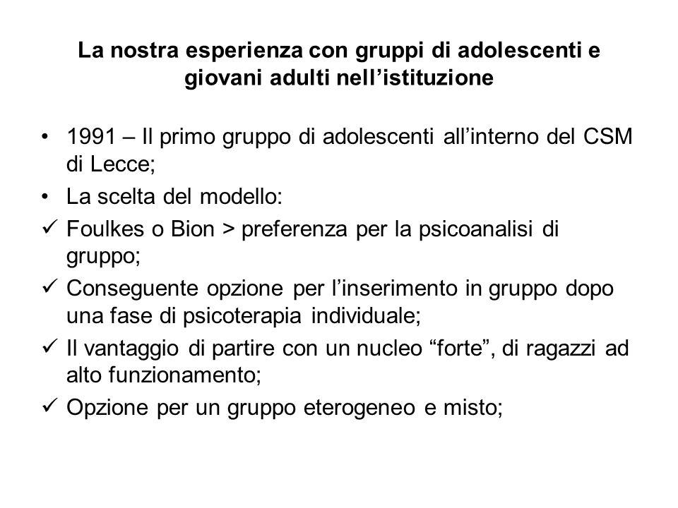 La nostra esperienza con gruppi di adolescenti e giovani adulti nell'istituzione 1991 – Il primo gruppo di adolescenti all'interno del CSM di Lecce; L