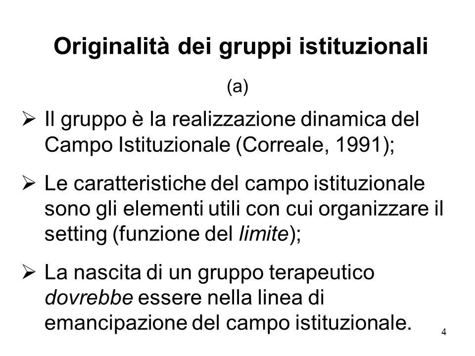 4 Originalità dei gruppi istituzionali (a)  Il gruppo è la realizzazione dinamica del Campo Istituzionale (Correale, 1991);  Le caratteristiche del