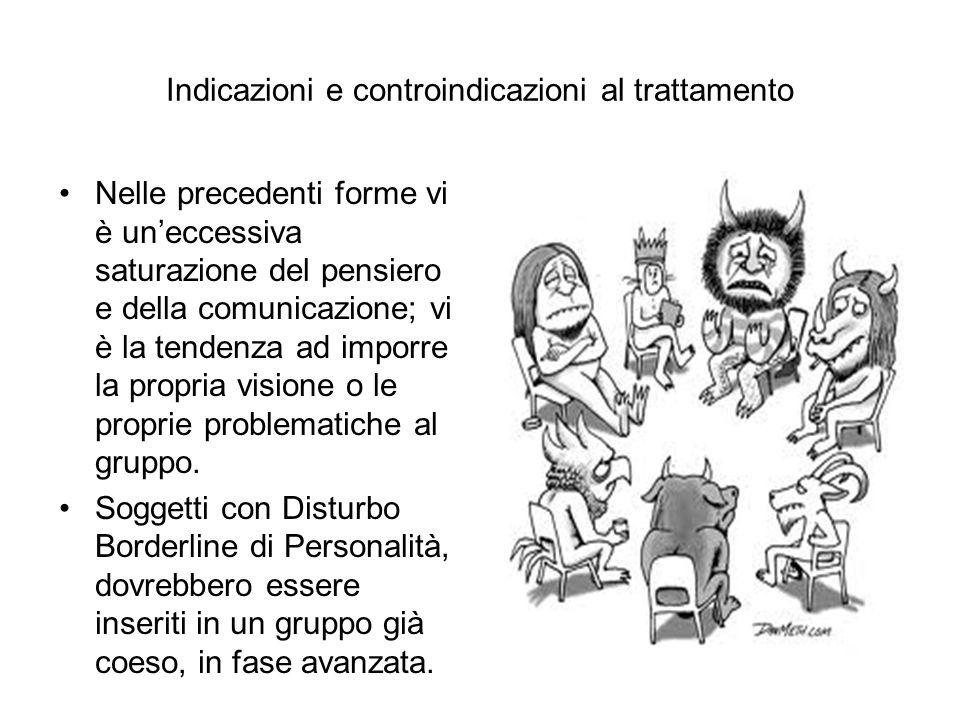 Indicazioni e controindicazioni al trattamento Nelle precedenti forme vi è un'eccessiva saturazione del pensiero e della comunicazione; vi è la tenden