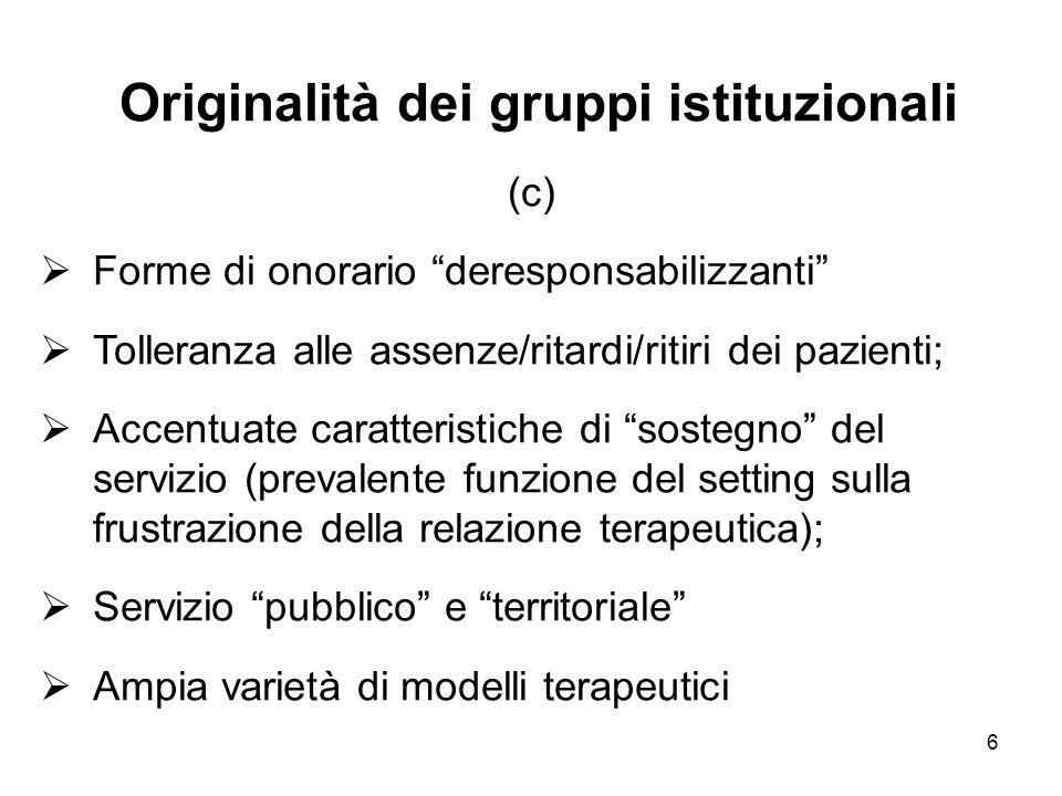 """6 Originalità dei gruppi istituzionali (c)  Forme di onorario """"deresponsabilizzanti""""  Tolleranza alle assenze/ritardi/ritiri dei pazienti;  Accentu"""