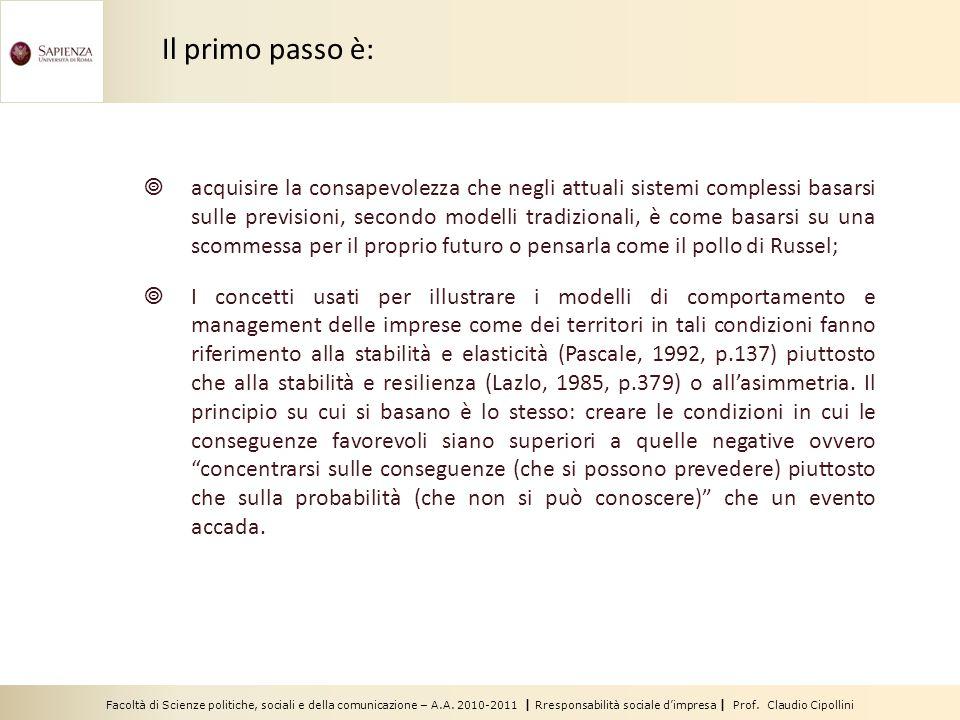 Facoltà di Scienze politiche, sociali e della comunicazione – A.A. 2010-2011 | Rresponsabilità sociale d'impresa | Prof. Claudio Cipollini  acquisire