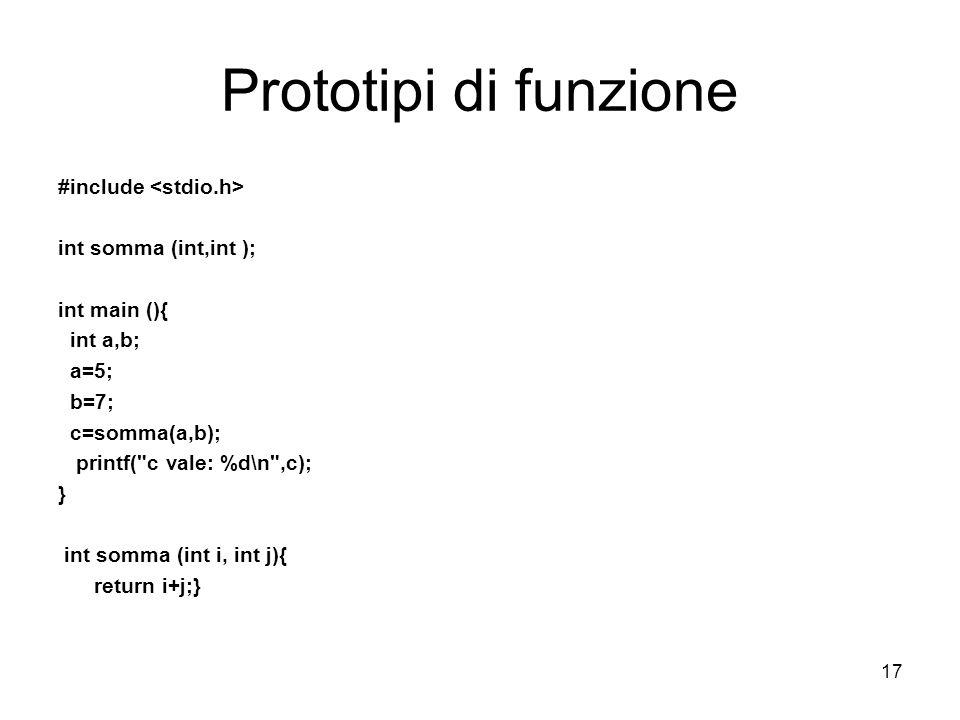 17 Prototipi di funzione #include int somma (int,int ); int main (){ int a,b; a=5; b=7; c=somma(a,b); printf( c vale: %d\n ,c); } int somma (int i, int j){ return i+j;}