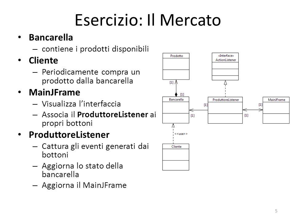 Esercizio: Il Mercato Il Main dell'applicazione 6 m=new Bancarella(); gui=new MainJFrame(); p=new ProduttoreListener(m, gui); Cliente c=new Cliente(); SwingUtilities.invokeLater(new Runnable() { public void run() { gui.initGUI(p); } }); while(true){ Thread.sleep(30000); c.compra(m); //E' sempre bene aggiornare la GUI all interno dell EDT SwingUtilities.invokeLater(new Runnable() { public void run() { gui.updateGUI(m.getNumeroPomodori(), m.getNumeroBasilico(), m.getNumeroPatata()); } }); }