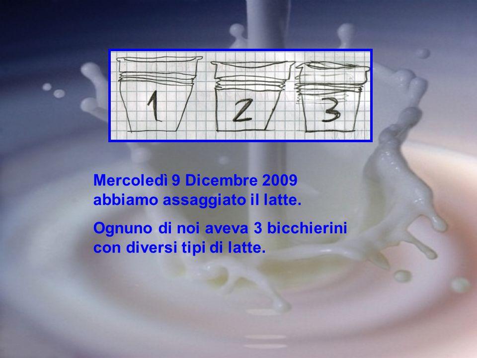 Mercoledì 9 Dicembre 2009 abbiamo assaggiato il latte. Ognuno di noi aveva 3 bicchierini con diversi tipi di latte.