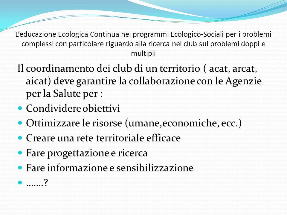 Il coordinamento dei club di un territorio ( acat, arcat, aicat) deve garantire la collaborazione con le Agenzie per la Salute per : Condividere obiet