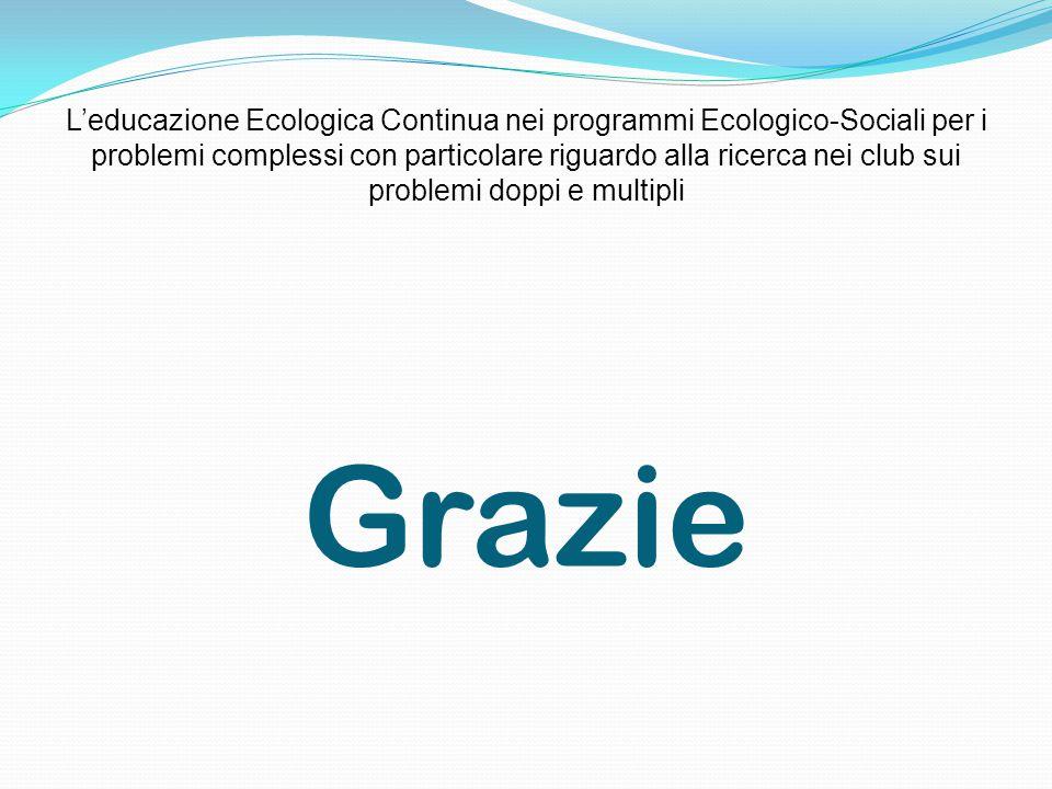 Grazie L'educazione Ecologica Continua nei programmi Ecologico-Sociali per i problemi complessi con particolare riguardo alla ricerca nei club sui pro