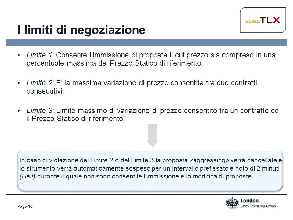 Page 10 Limite 1: Consente l'immissione di proposte il cui prezzo sia compreso in una percentuale massima del Prezzo Statico di riferimento. Limite 2: