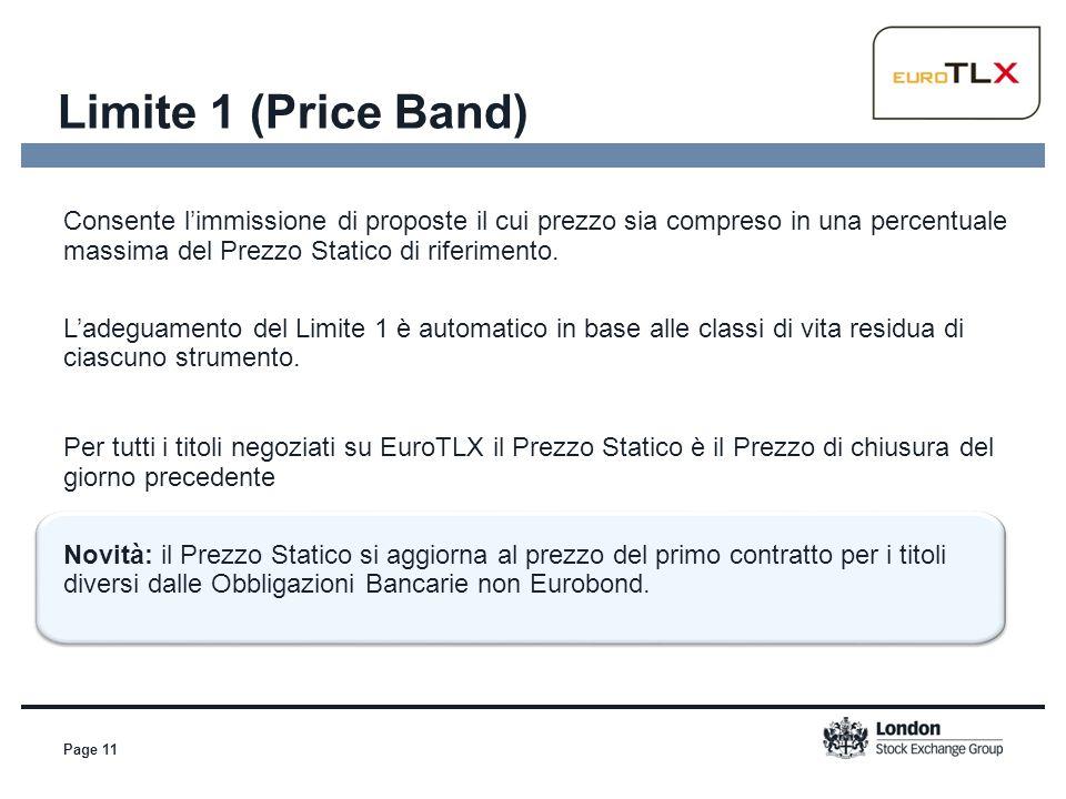 Limite 1 (Price Band) Page 11 Consente l'immissione di proposte il cui prezzo sia compreso in una percentuale massima del Prezzo Statico di riferiment