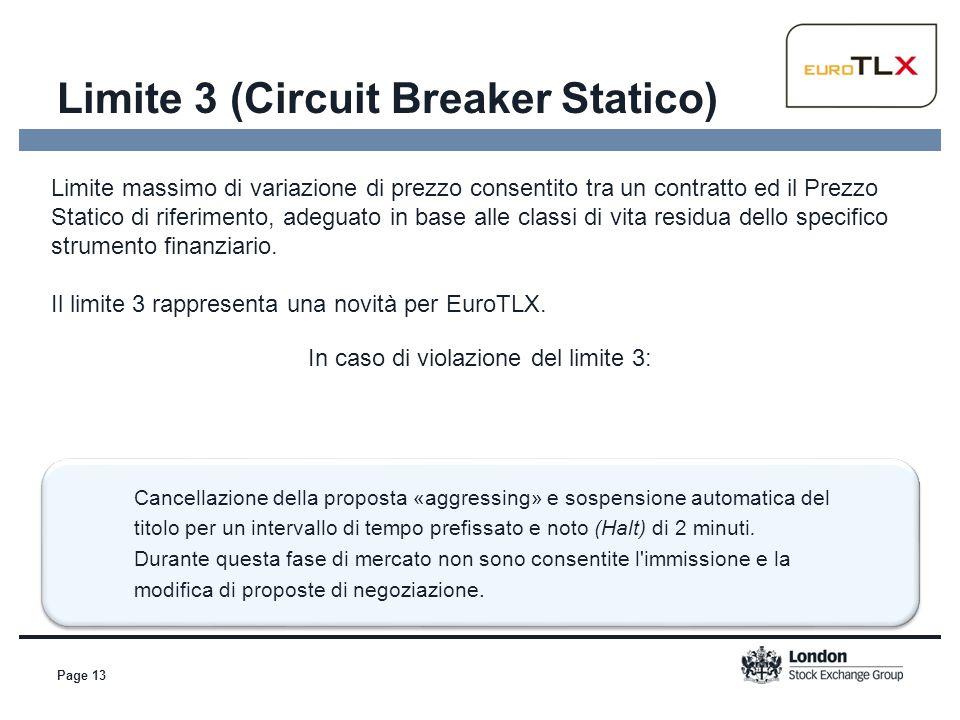 Page 13 Limite 3 (Circuit Breaker Statico) Limite massimo di variazione di prezzo consentito tra un contratto ed il Prezzo Statico di riferimento, ade