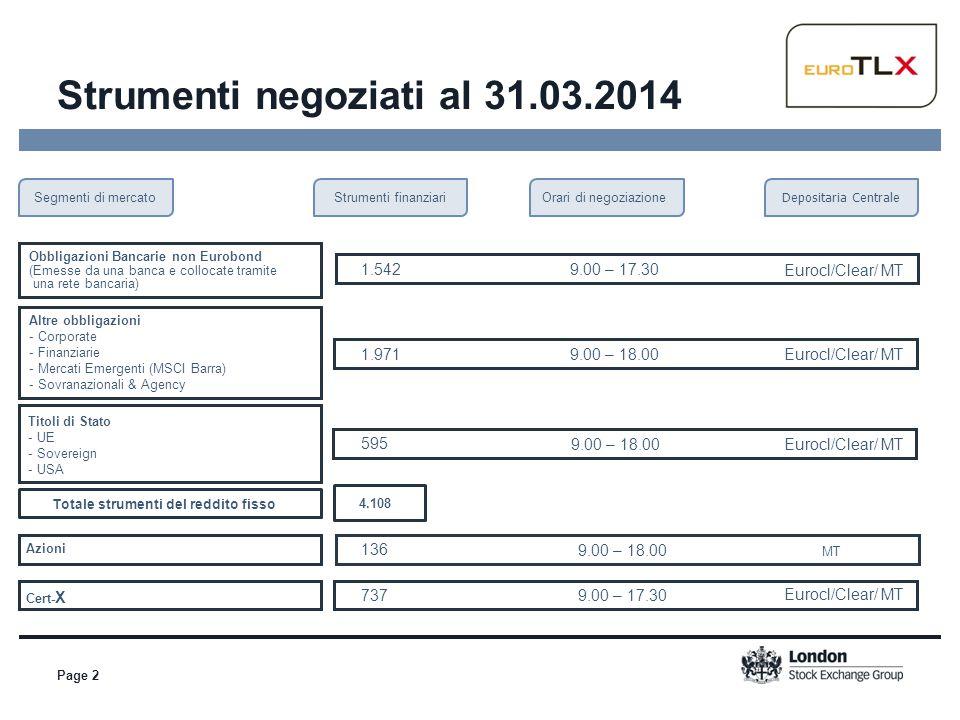 Page 2 Segmenti di mercato Obbligazioni Bancarie non Eurobond (Emesse da una banca e collocate tramite una rete bancaria) 1.5429.00 – 17.30 Eurocl/Cle