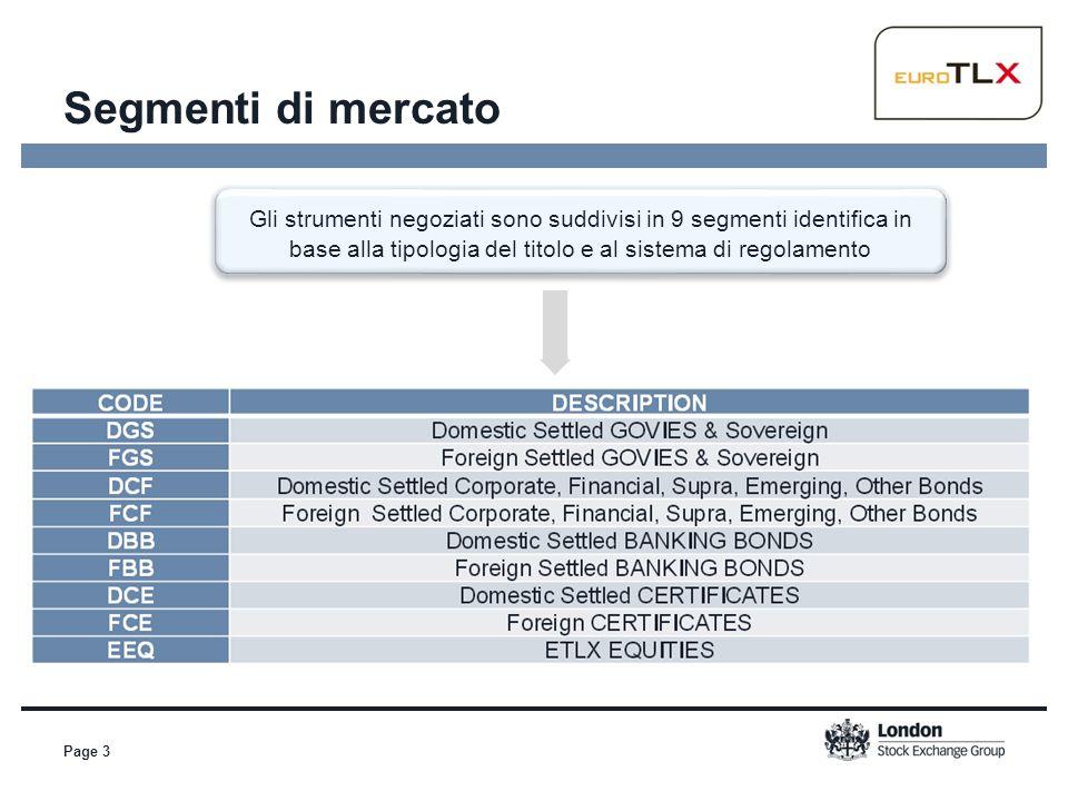 Segmenti di mercato Page 3 Gli strumenti negoziati sono suddivisi in 9 segmenti identifica in base alla tipologia del titolo e al sistema di regolamen