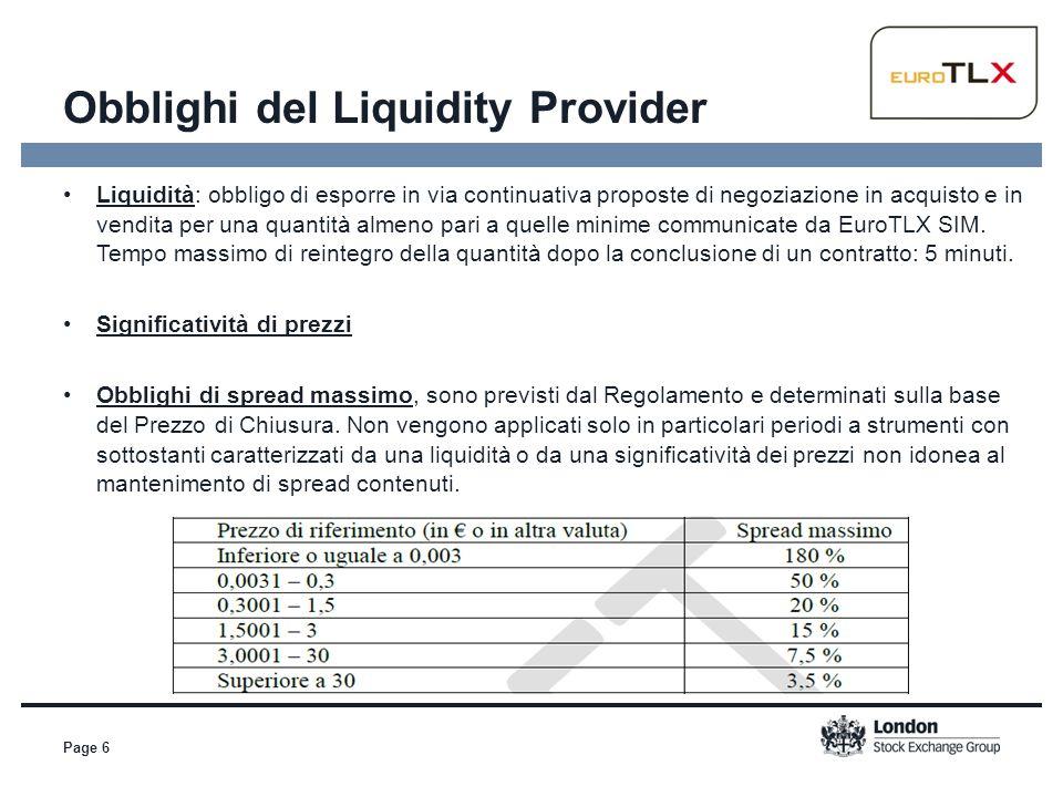 Obblighi del Liquidity Provider Page 6 Liquidità: obbligo di esporre in via continuativa proposte di negoziazione in acquisto e in vendita per una qua