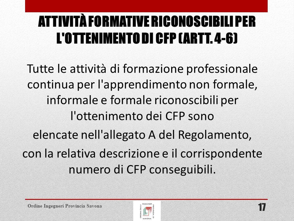 Ordine Ingegneri Provincia Savona ATTIVITÀ FORMATIVE RICONOSCIBILI PER L OTTENIMENTO DI CFP (ARTT.