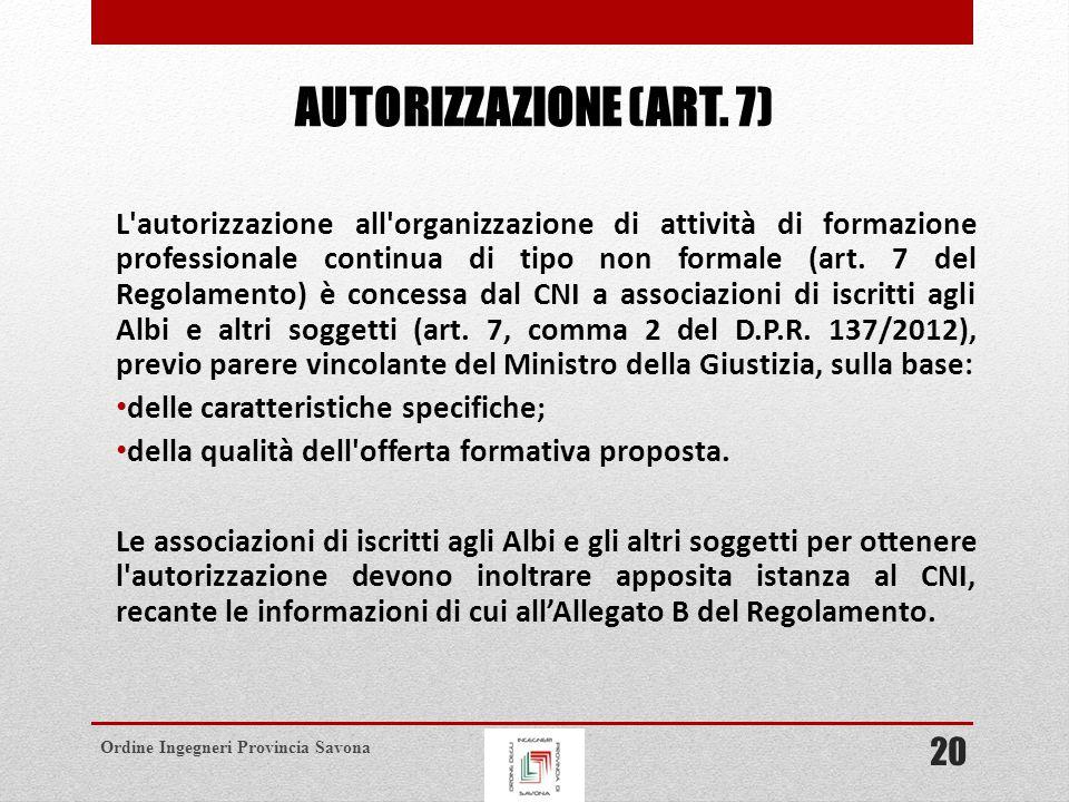 Ordine Ingegneri Provincia Savona AUTORIZZAZIONE (ART.
