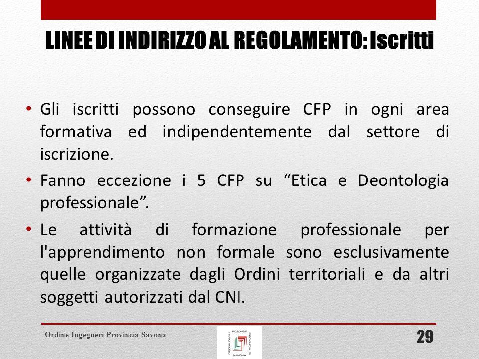 Ordine Ingegneri Provincia Savona LINEE DI INDIRIZZO AL REGOLAMENTO: Iscritti Gli iscritti possono conseguire CFP in ogni area formativa ed indipendentemente dal settore di iscrizione.