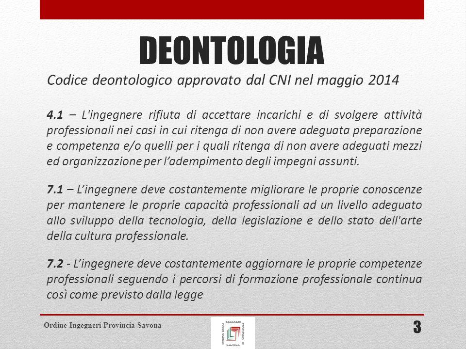 Ordine Ingegneri Provincia Savona COMPITI DEL CNI (ART.