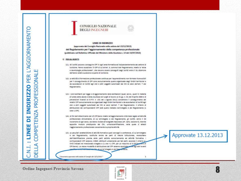 Ordine Ingegneri Provincia Savona LINEE DI INDIRIZZO AL REGOLAMENTO Saranno riconoscibili ai fini dell ottenimento dei CFP solo le attività formative di apprendimento non formale erogate dal 01/01/2013 al 31/12/2013 dagli Ordini territoriali.