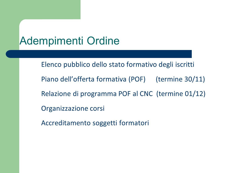 Adempimenti Ordine Elenco pubblico dello stato formativo degli iscritti Piano dell'offerta formativa (POF) (termine 30/11) Relazione di programma POF al CNC (termine 01/12) Organizzazione corsi Accreditamento soggetti formatori