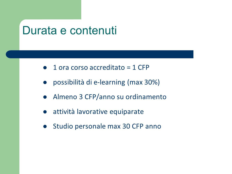 1 ora corso accreditato = 1 CFP possibilità di e-learning (max 30%) Almeno 3 CFP/anno su ordinamento attività lavorative equiparate Studio personale m