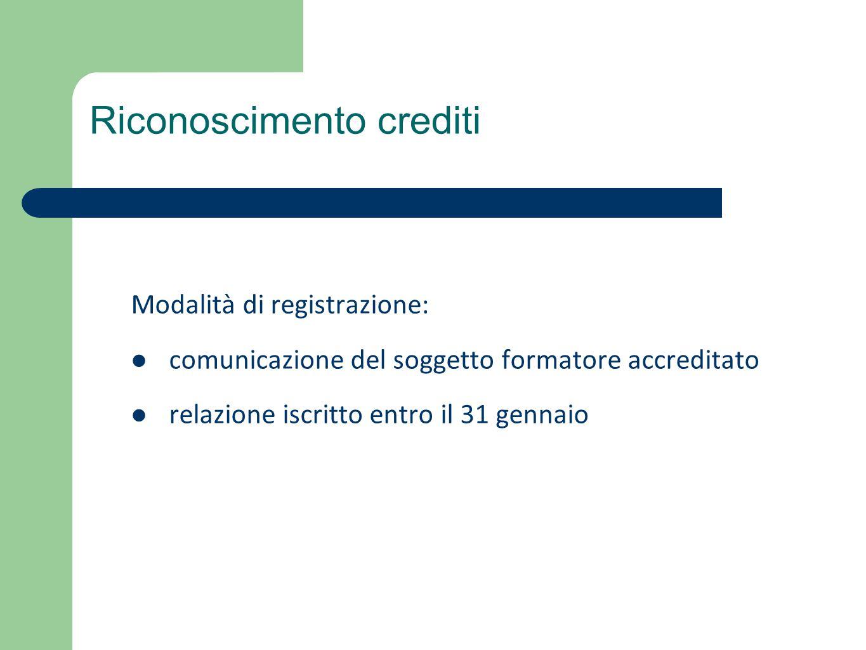 Modalità di registrazione: comunicazione del soggetto formatore accreditato relazione iscritto entro il 31 gennaio Riconoscimento crediti