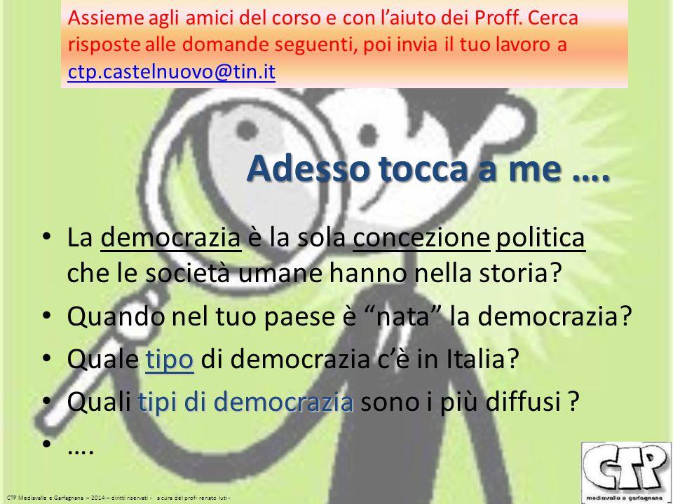 """Adesso tocca a me …. La democrazia è la sola concezione politica che le società umane hanno nella storia? Quando nel tuo paese è """"nata"""" la democrazia?"""