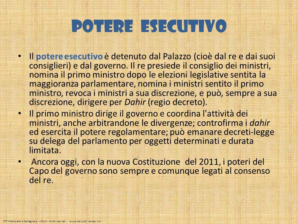 Potere esecutivo potere esecutivo Il potere esecutivo è detenuto dal Palazzo (cioè dal re e dai suoi consiglieri) e dal governo. Il re presiede il con