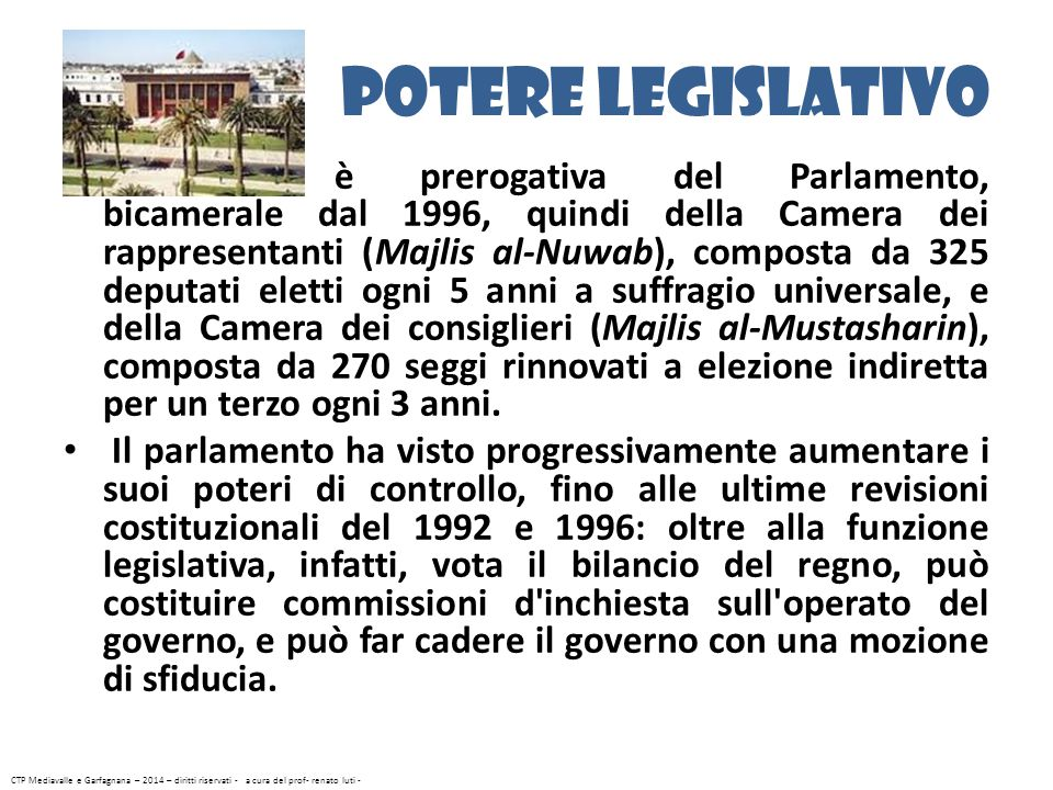 Potere legislativo è prerogativa del Parlamento, bicamerale dal 1996, quindi della Camera dei rappresentanti (Majlis al-Nuwab), composta da 325 deputa