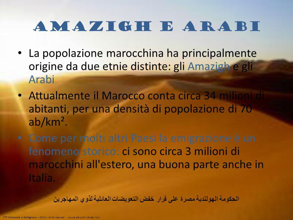 Amazigh e Arabi La popolazione marocchina ha principalmente origine da due etnie distinte: gli Amazigh e gli Arabi Attualmente il Marocco conta circa