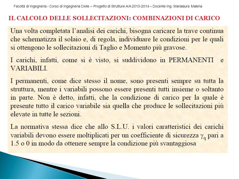Facoltà di Ingegneria - Corso di Ingegneria Civile – Progetto di Strutture A/A 2013-2014 – Docente Ing. Marialaura Malena IL CALCOLO DELLE SOLLECITAZI