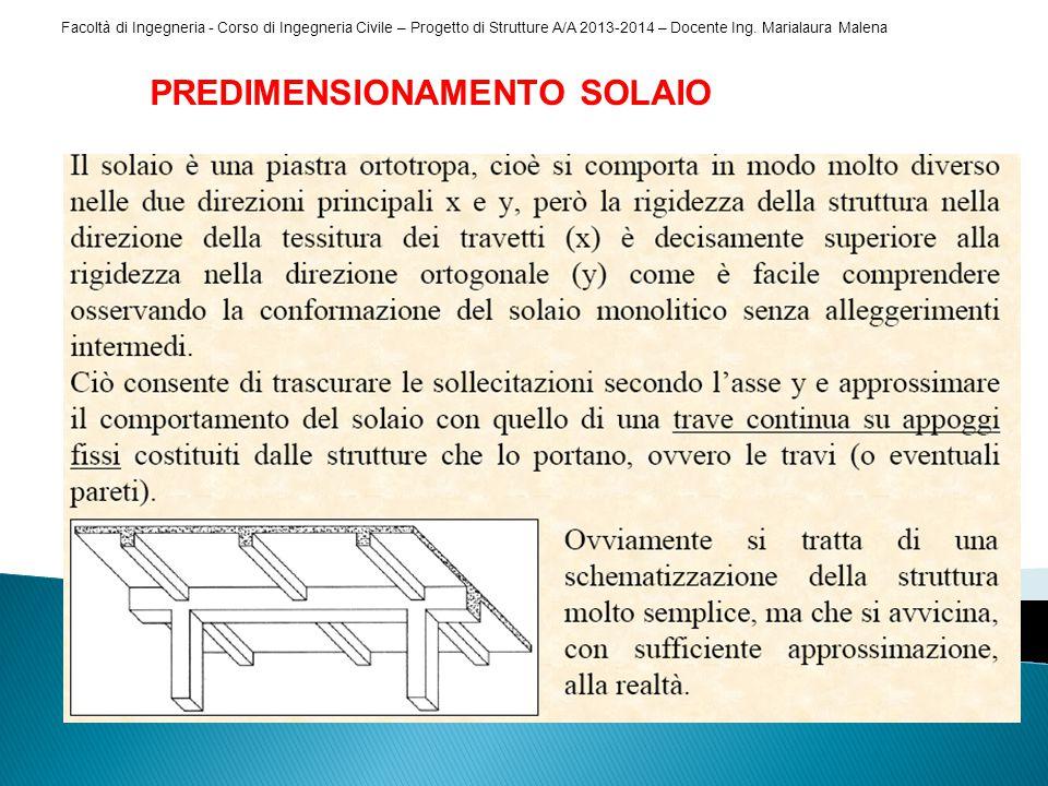Facoltà di Ingegneria - Corso di Ingegneria Civile – Progetto di Strutture A/A 2013-2014 – Docente Ing. Marialaura Malena PREDIMENSIONAMENTO SOLAIO