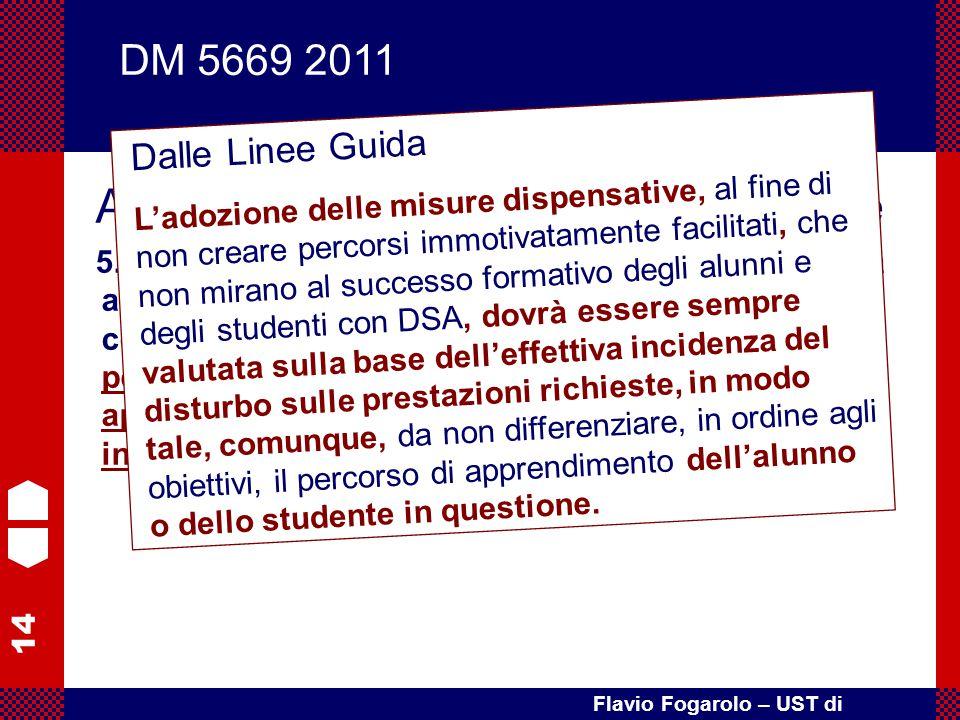14 Flavio Fogarolo – UST di Vicenza Art. 4 – Misure educative e didattiche 5. L'adozione delle misure dispensative è finalizzata ad evitare situazioni